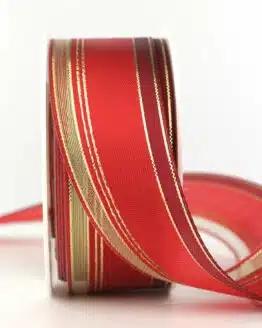 Weihnachtsband Klassik, rot-gold, 40 mm - weihnachtsbaender, geschenkband-weihnachten-gemustert, geschenkband-weihnachten