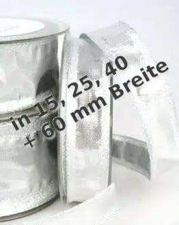 Silber-Band in 15, 25, 40 und 60 mm, mit Drahtkante - weihnachtsband, geschenkband-weihnachten-einfarbig, geschenkband-weihnachten-dauersortiment, geschenkband-weihnachten
