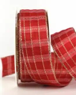 Karoband Weihnachten, rot-gold, 40 mm breit mit Drahtkante - WETTERFEST - sonderangebot, outdoor-bander, geschenkband-weihnachten-kariert, geschenkband-weihnachten