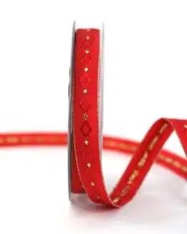 Weihnachtsband Rautenmuster, rot-gold, 15 mm breit - geschenkband-weihnachten-gemustert, geschenkband-weihnachten