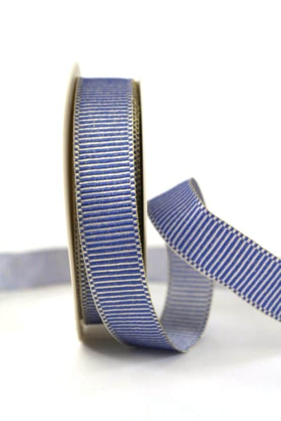Geschenkband Xmas-Rips, blau-gold, 25 mm breit - geschenkband-weihnachten-gemustert, geschenkband-weihnachten