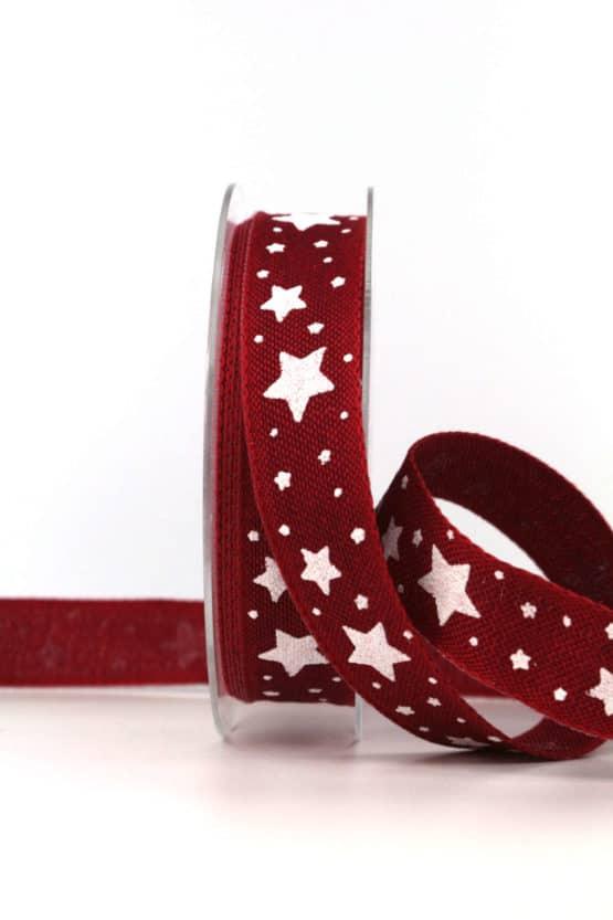 Dekoband Weihnachten, bordeaux-weiß, 25 mm, mit Draht - weihnachtsbaender, geschenkband-weihnachten-gemustert, geschenkband-weihnachten