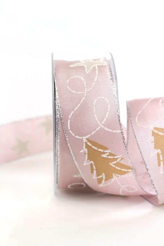 Weihnachtsband mit Sternen, rosa-weiß, 40 mm breit - geschenkband-weihnachten-gemustert, geschenkband-weihnachten