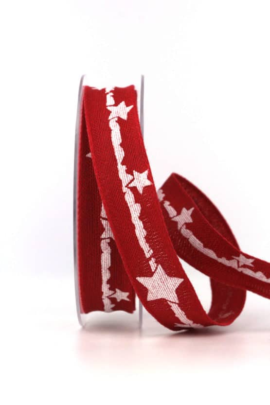 Dekoband Weihnachten, rot-weiß, 25 mm, mit Draht - weihnachtsbaender, geschenkband-weihnachten-gemustert, geschenkband-weihnachten