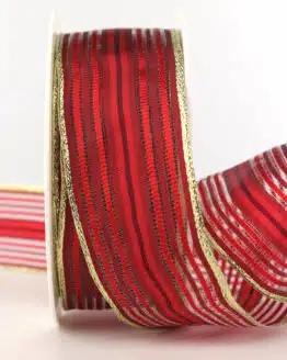 Weihnachtsband Streifen, rot-gold, 40 mm - weihnachtsbaender, geschenkband-weihnachten-gemustert, geschenkband-weihnachten
