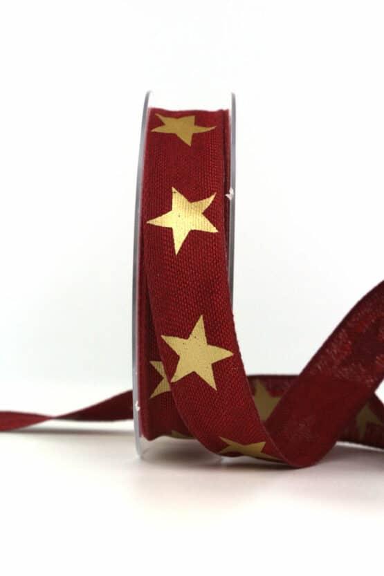Dekoband Weihnachten, bordeaux-gold, 25 mm, mit Draht - weihnachtsbaender, geschenkband-weihnachten-gemustert, geschenkband-weihnachten
