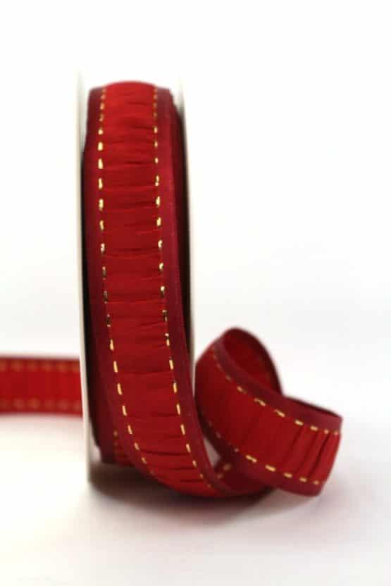 Weihnachtsband rot gerafft, 25 mm breit - geschenkband-weihnachten-gemustert, geschenkband-weihnachten