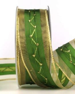 Weihnachtsband, grün-gold, 40 mm, mit Draht - weihnachtsbaender, geschenkband-weihnachten-gemustert, geschenkband-weihnachten