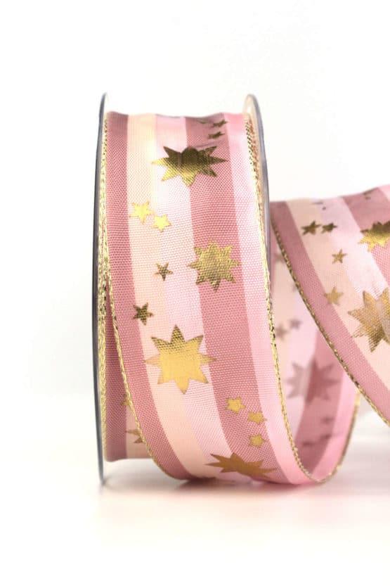 Weihnachtsband mit goldenen Sternen, rosa-altrosa, 40 mm, mit Draht - weihnachtsbaender, geschenkband-weihnachten-gemustert, geschenkband-weihnachten