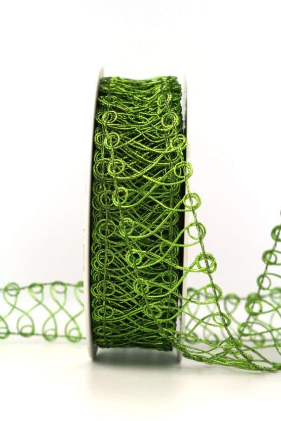 Spitze aus Lurexgarn, grün, 30 mm - weihnachtsbaender, geschenkband-weihnachten-einfarbig, geschenkband-weihnachten