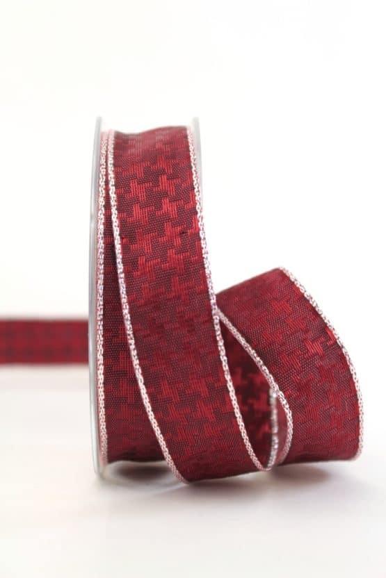 Weihnachtsschleifenband bordeaux-silber, 25 mm breit - geschenkband-weihnachten-einfarbig, geschenkband-weihnachten