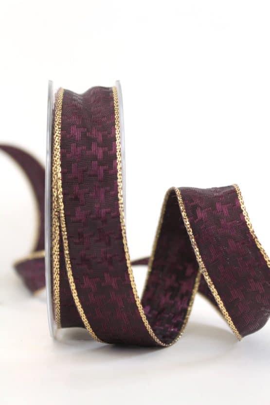 Weihnachtsschleifenband braun-gold, 25 mm breit - geschenkband-weihnachten-einfarbig, geschenkband-weihnachten