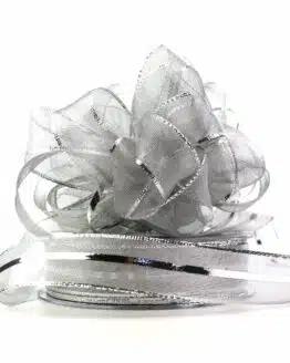 Ziehschleifenband Susifix, silber, 25 mm - weihnachtsband, geschenkband-weihnachten-einfarbig, geschenkband-weihnachten-dauersortiment, geschenkband-weihnachten