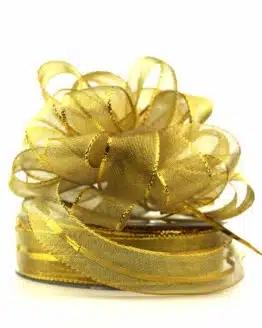 Ziehschleifenband Susifix, gold, 25 mm - weihnachtsband, geschenkband-weihnachten-einfarbig, geschenkband-weihnachten-dauersortiment, geschenkband-weihnachten