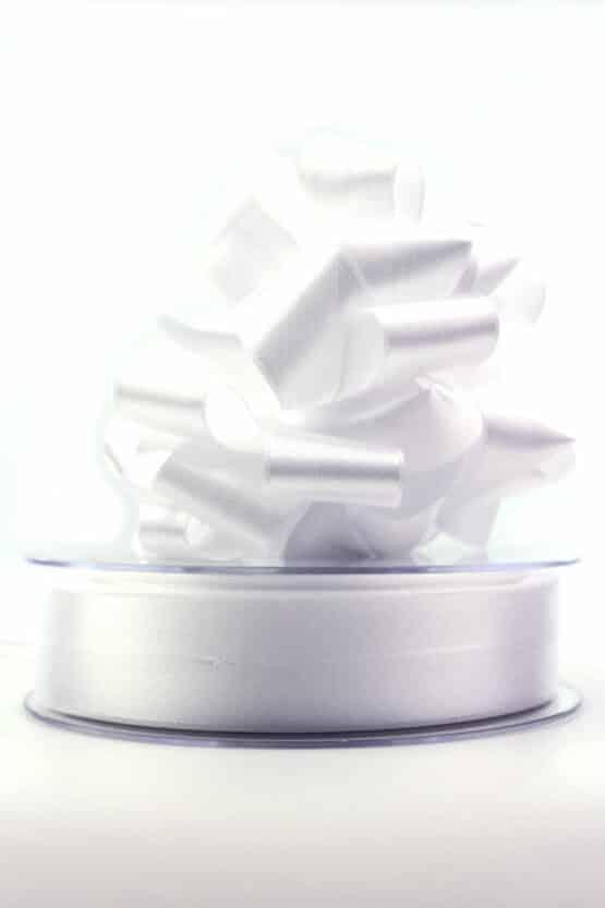 Ziehschleifenband Susifix, weiß, 25 mm - hochzeit, geschenkband-einfarbig