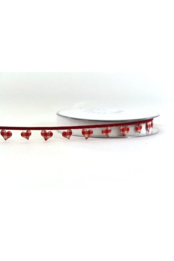 Zierlitze m. Herzen, rot-kariert, 15 mm breit - valentinstag, muttertag, geschenkband-mit-herzen, anlasse
