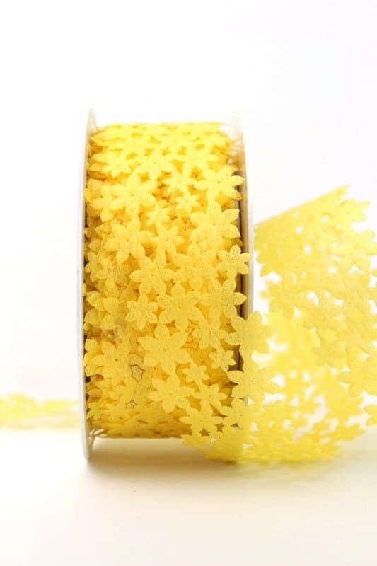 Dekogirlande gelb, aus Vlies ausgestanzt - geschenkband, geschenkband-einfarbig, dekogirlande, dekoband