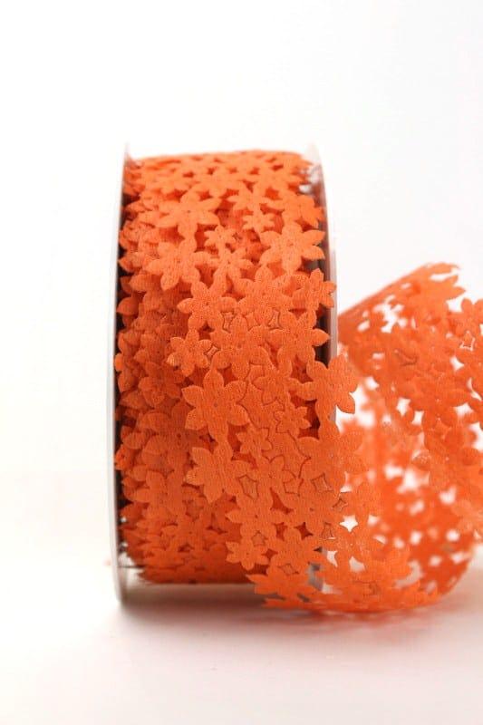 Dekogirlande orange, aus Vlies ausgestanzt - geschenkband, geschenkband-einfarbig, dekogirlande, dekoband