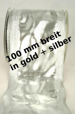 breites Geschenkband_100mm_gold_silber_mit Drahtkante_(40278-100)_titel