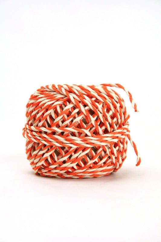 Zweifarbige Kordel orange-weiß, 2 mm - kordeln